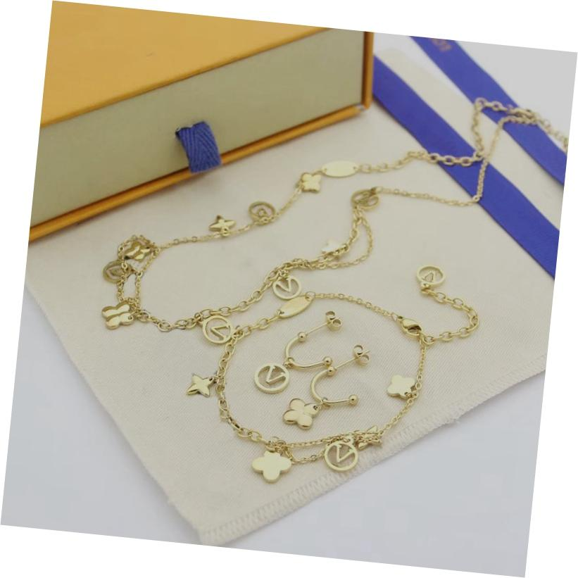 Горячая распродажа мода ювелирных изделий наборы леди 316L титановая сталь четыре листа цветочная буква 18k покрытием золотых двойных колоду Ожерелья браслета серьги 1 шт.