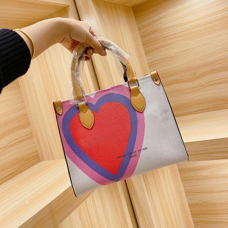 Tasche Artwork Paket High Dame Handtasche Patchwork Farbe Leder Mode Versand Große echte Kapazität Interieur Reißverschluss Taschen Brief Quali FCEH