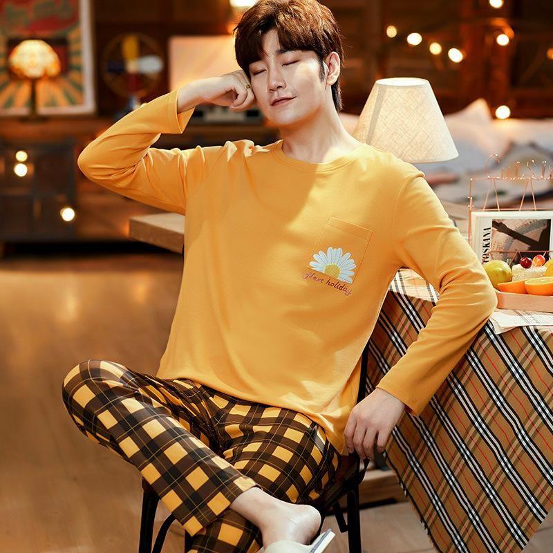 Automne hiver tricoté coton pyjamas orange treillis long pantalons long pantalons pyjamas mis occasionnel masculin peint heink motif maison vêtements