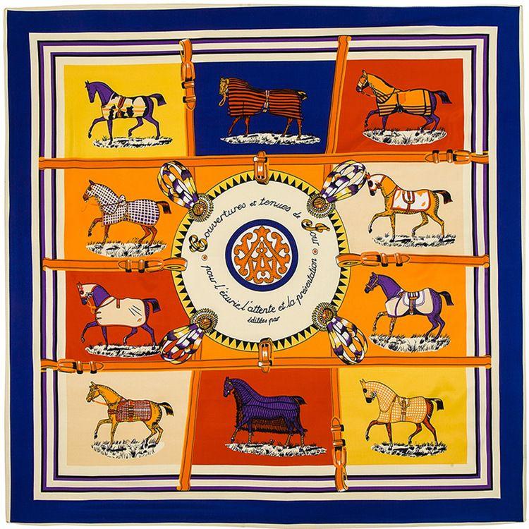 Écharpe à col en soie Femmes Twill Dix Horse Imprimer Écharpe Foulard Red Foulard Fleur Femme Écharpes Foulards carrés en soie pour femme 100 * 100