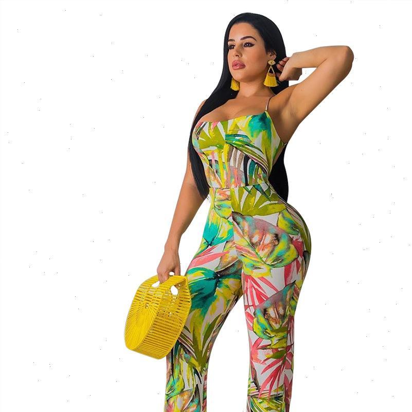 Летние Осенние Женщины комбинезон Bodycon Paysuit Bodysuit Комбинезон Компания Plus Plus Размер Листья Печать Сексуальные Угнозы Без