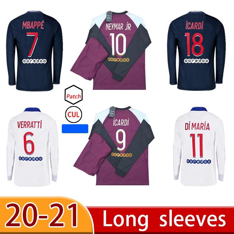 2021 Jersey de fútbol de manga larga personalizada Mbappe Verratti Kean Jersey 2020 2021 Di Maria Kimpembe Marquinhos Camisa de fútbol de Icardi