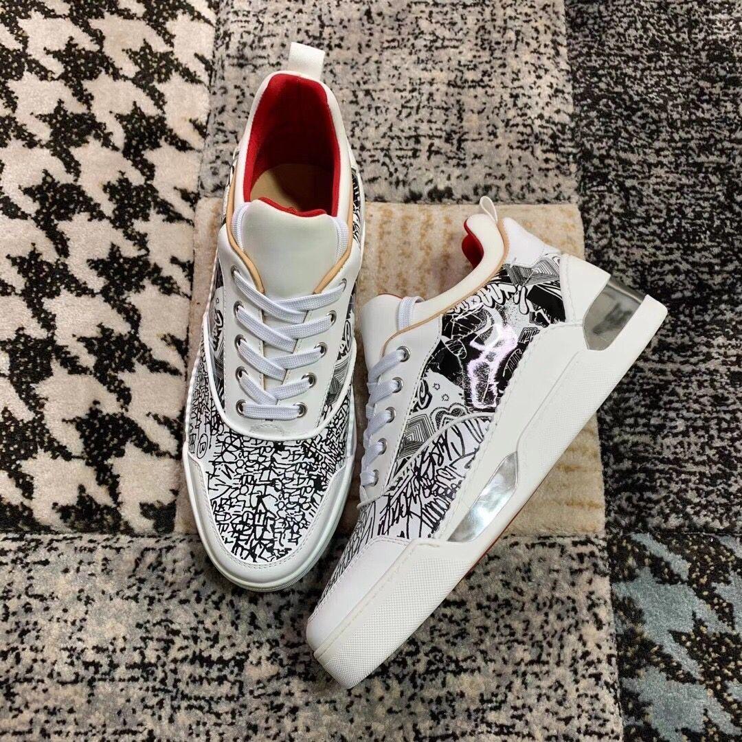 Lüks Markalar Aurelien Sneakers Ayakkabı Kırmızı Alt Erkek Ucuz Orijinal Rahat Yürüyüş Ayakkabıları Grafit Deri Ile 10 Stil EU38-47, Kutu