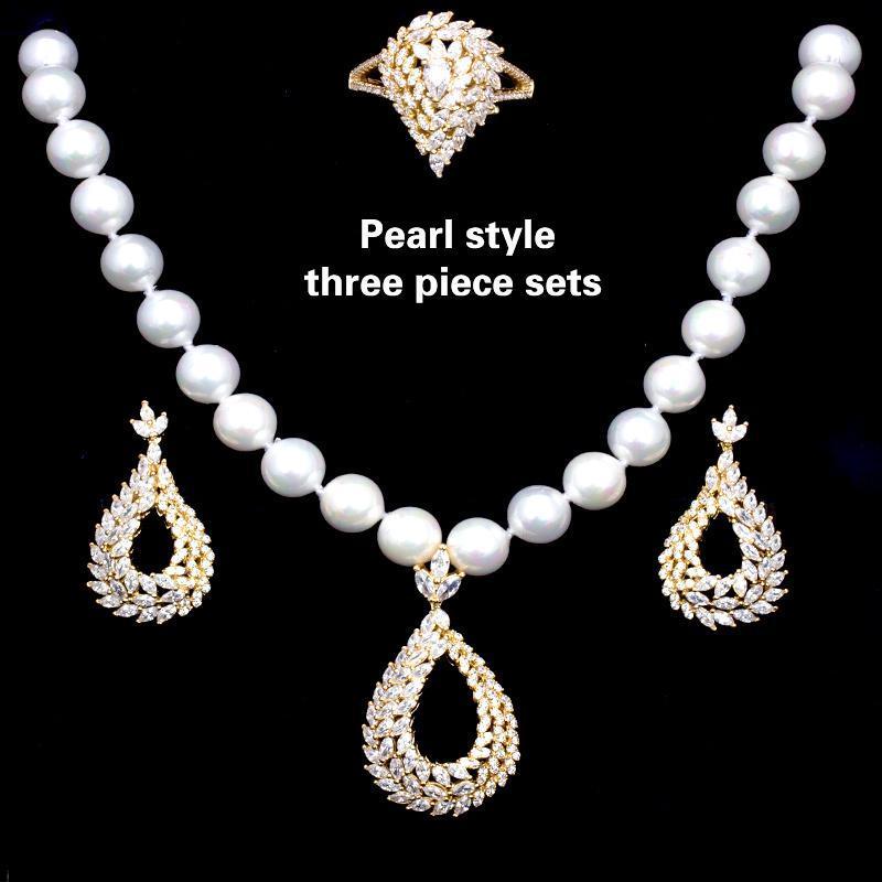 Circón cúbico joyería collares Anillos Pendientes 3 unids Conjuntos de perlas nupciales de moda y de lujo para mujeres Compromiso de boda