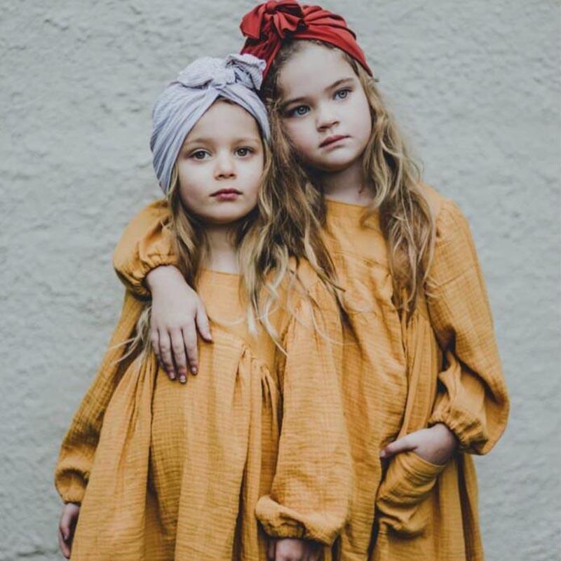 Marca Baby Girl Roupas Outono Ins Estilo Europeuica Sólida Meninas Vestido Criança Crianças Menina Casual Linho Vestido Princesa 201128