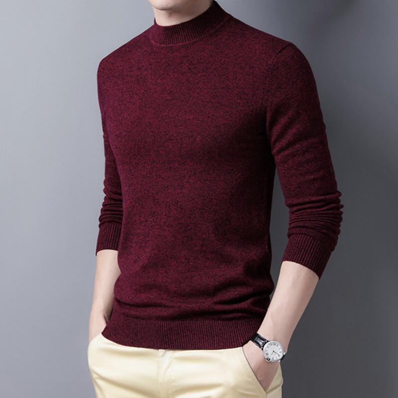 Outono e inverno novo estilo 100% puro camisola de lã jovem jacquard jacquard meio alto colarinho de lã completa camisola masculina