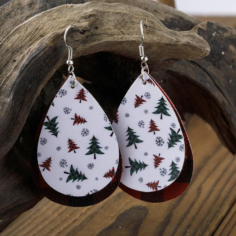 Мода аксессуар новая капля воды красный черный плед рождественские серьги из листьев