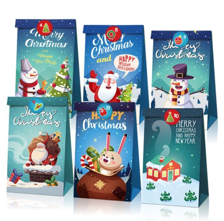 أحدث 19.8x11.9x7.8cm الحجم، حزمة واحدة = 12، ورق الكرافت ورقة الشحوم حقيبة زخرفة عيد الميلاد، حقيبة هدايا عيد الميلاد، حقيبة هدايا عيد الميلاد