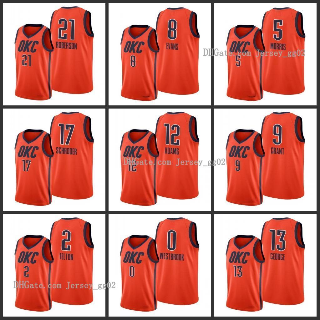 NCAA Oklahoma CityhunderAndreNBA Roberson Jerami Grant Jawun Evans Raymond Felton Markieff Morris Steven Adams Hommes 2019-20 Icon J