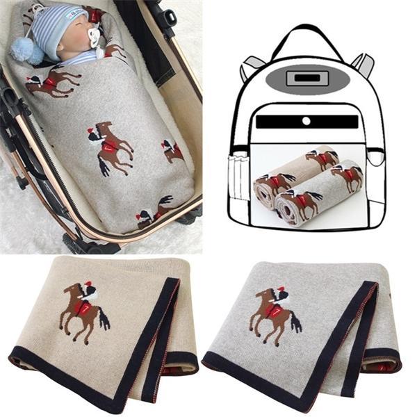 Мультфильм лошадь младенца вязаное новорожденное одеяло коляска обертывают младенческое пелена для детей inbakeren веществ для ежемесячного кровати малышей Q1121