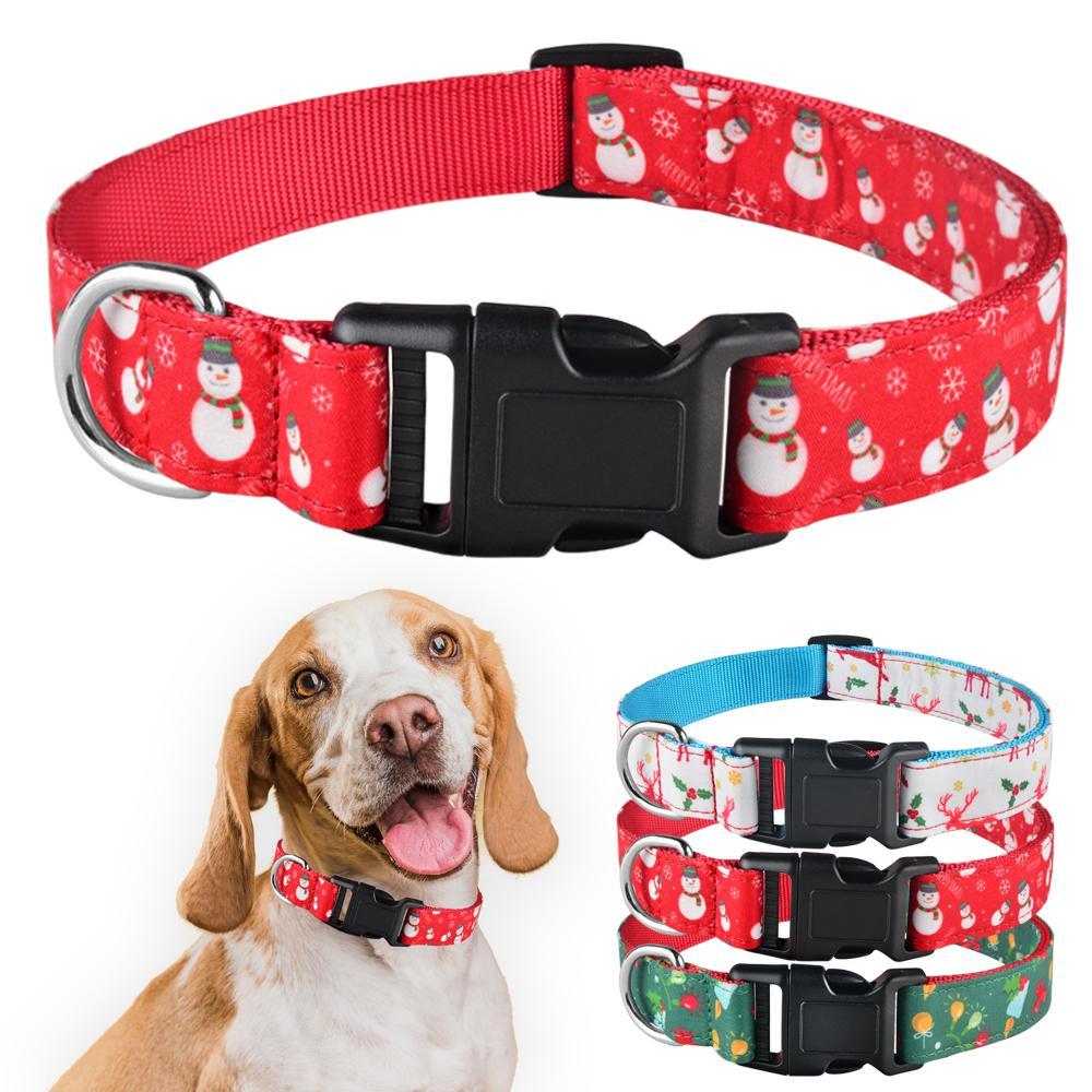 Cão de Natal Ajustável Xmas Durável Durável Menino Menino Collar Perro Chihuahua Nylon Colar Cachorrinho Presente