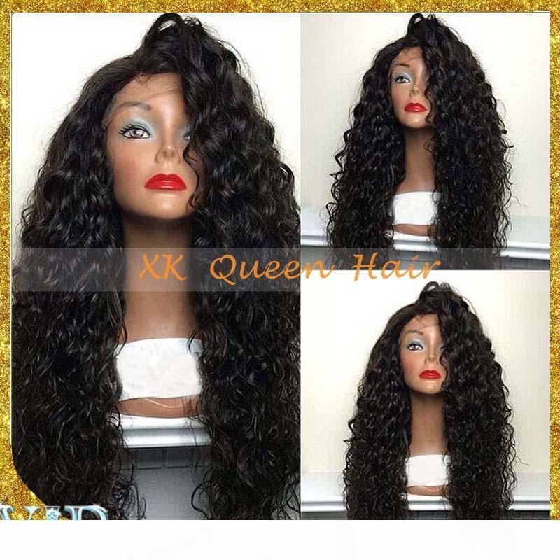 8A Top Qualité Brésilienne Human Cheveux Perruques Gros Perruques pleines de dentelle Curly pour femmes noires Vierge cheveux en dentelle avant perruque blanchie nœuds