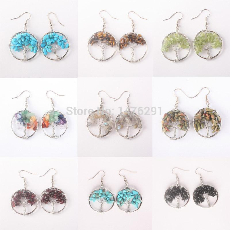 Tree Of Life Wire Wrapped Tumbled Stone Beads Round Dangle Drop Hook Earrings 1pair1