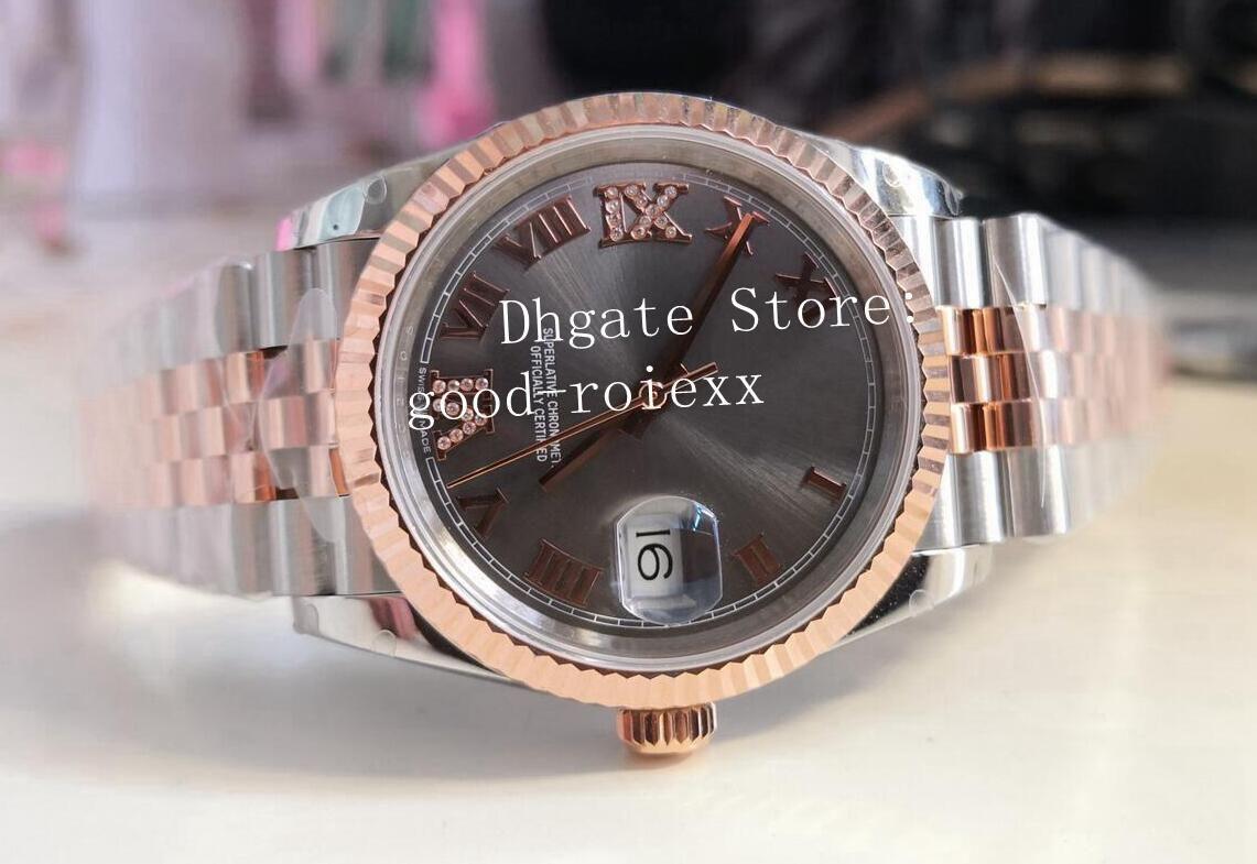 36mm Rosa Relógios de Ouro Mens BP Fábrica 2813 Jubileu Pulseira Mãe de Pérola Diamante Roma Homens 126231 Data Cristal Apenas Midsize Women Watch