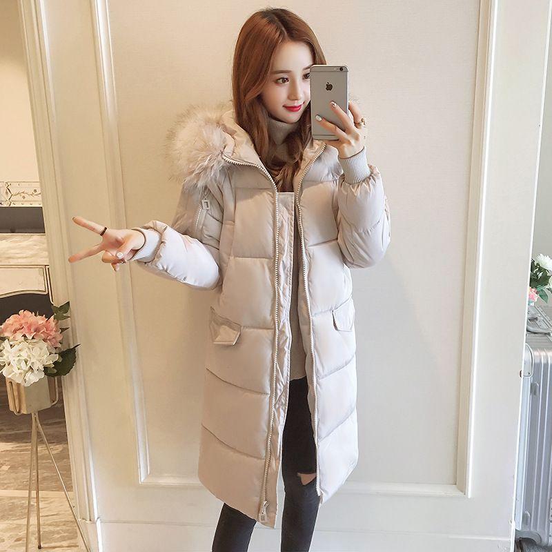 Новая горячая распродажа женская куртка уникальный большой меховой воротник пальто женское зимнее утолщение в длинной секции женская теплая куртка
