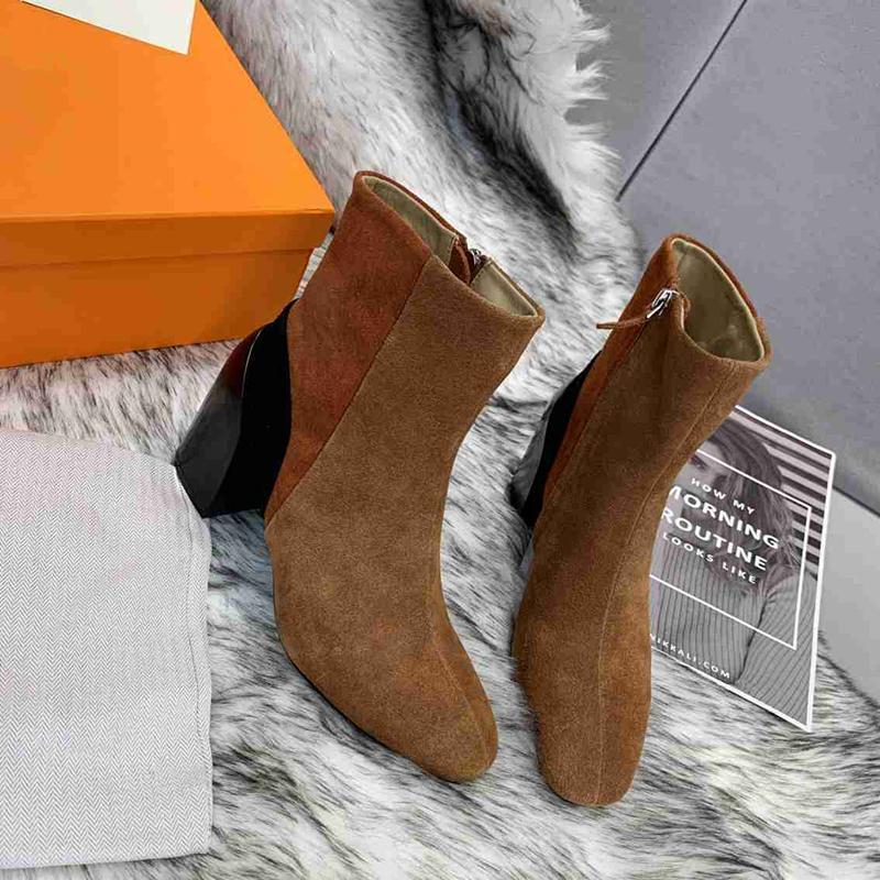Boots Sexy Colulsy High каблуки женская лодыжка подлинные замшевые кожаные насосы взлетно-посадочные полосы осень зимние вечеринки платье обувь бой
