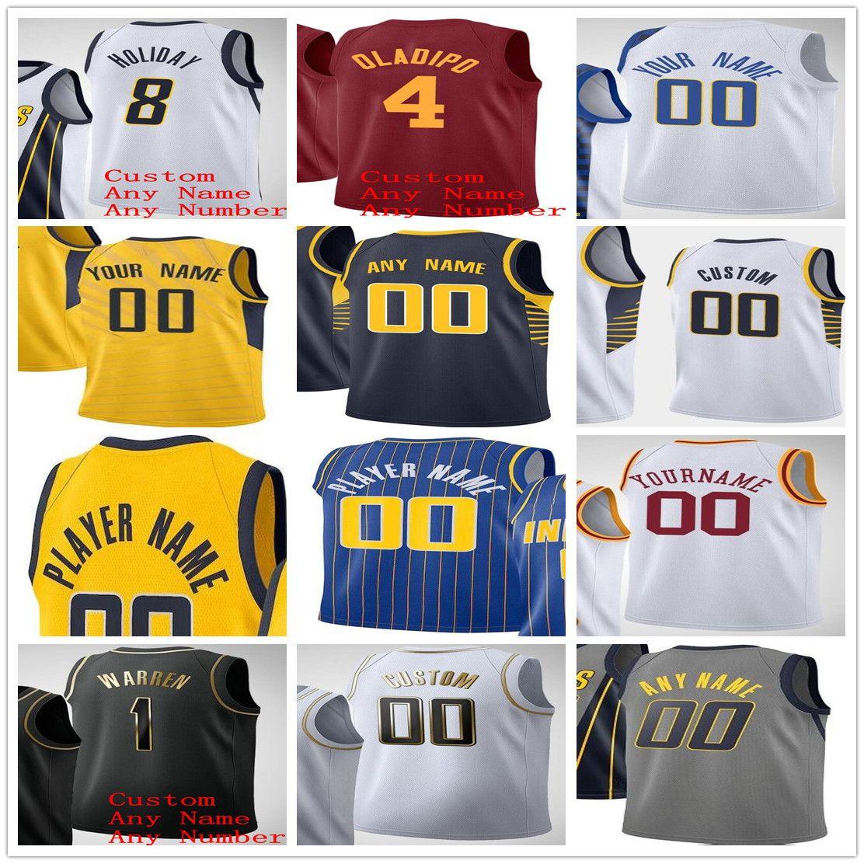 مخصص مطبوعة إنديانا بيسرز فيكتور 4 Oladipo Domantas 11 Sabonis 7 Brogdon Myles 33 تيرنر 1 وارن الرجال امرأة الاطفال كرة السلة الفانيلة