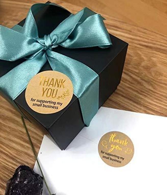 Mi tienda con la etiqueta engomada de oro Foil para pegatinas Pegatina para etiquetas hechas a mano 500 unids Gracias a soporte de pequeñas empresas Redondo Kraft Jllxf Bdebag
