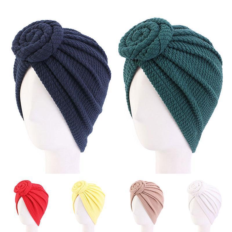 Etnik Giyim Çiçek Yuvarlak Türban Şapka Kadınlar Katı Renk Kafa Kapak Streç Müslüman Gece Cap Bonnet Ince Hijab Sarar
