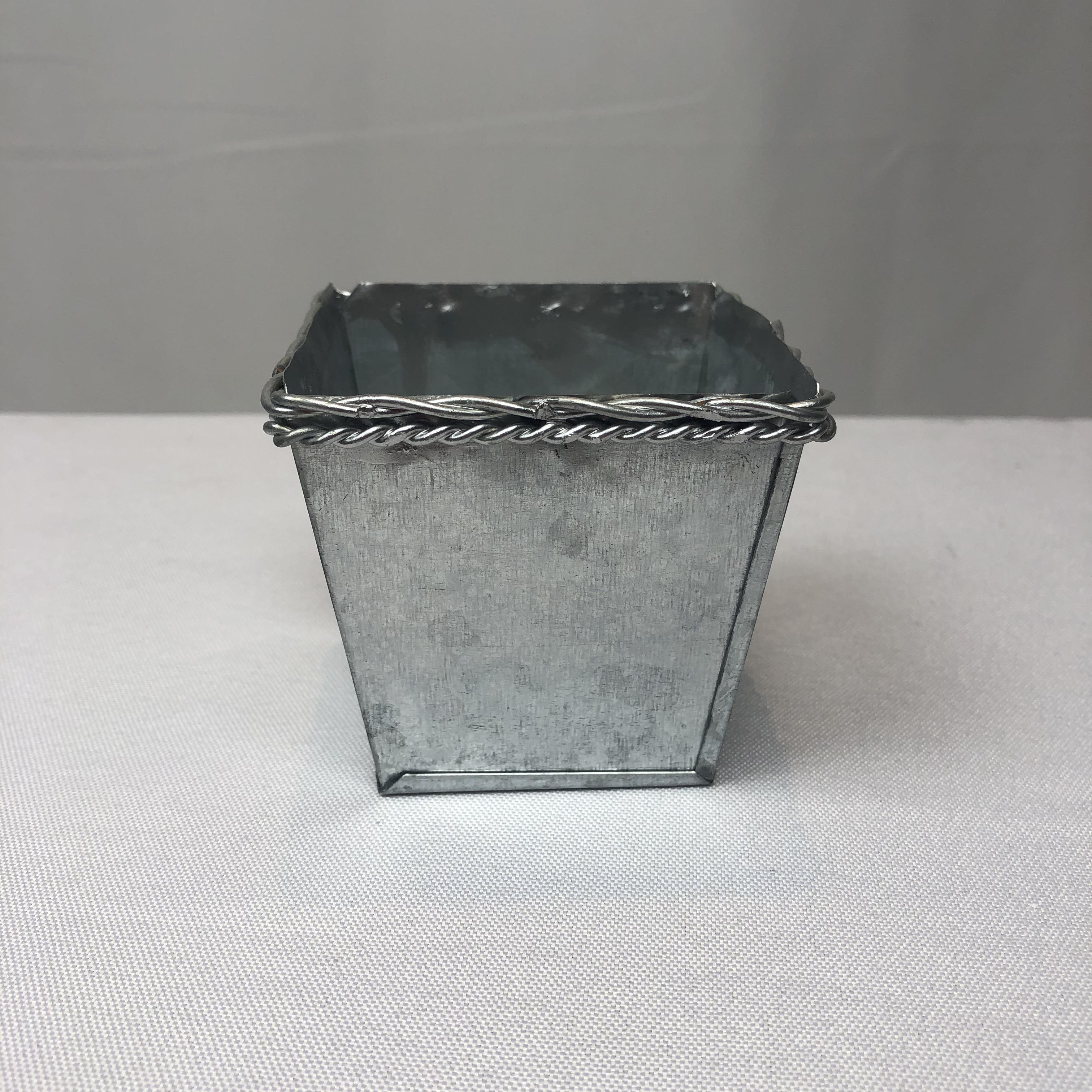 D7.5XH7CMの小型多肉植物鍋銀色保育園プランター正方形の電流を通された結婚式の好意