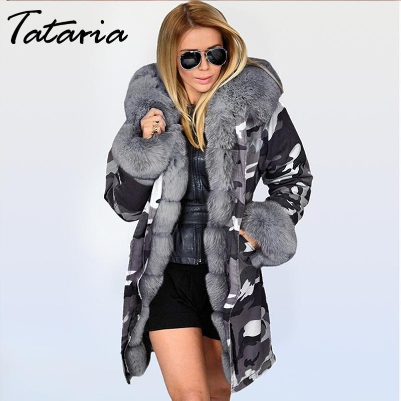 Tataria Mulheres Inverno Grosso Quente Com Capuz Parka Militar Parkas Parkas Casacos Hooded Colar Collar Jaqueta Mulher Faux Fur Velvet Jacket 201027