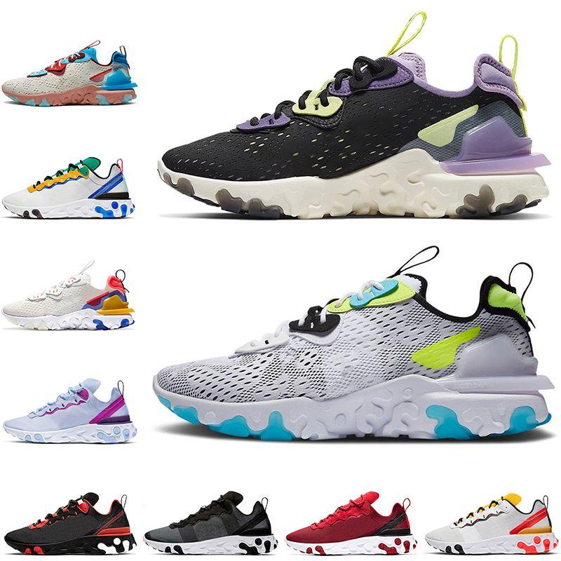 2021 Nike React Vision Element 55 87 المرأة الاحذية رجالية الاحذية ماكس رد فعل  العنص  كن حقيقيا شاسع رمادي أسود × قزح الصحراء الصحراوي المدربين الرياضة أحذية رياضية