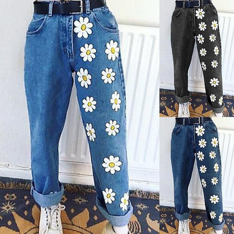 2020 Moda mujer alta cintura recta mujer denim pantalones largos pantalones vintage margaritas impresas jeans streetwear
