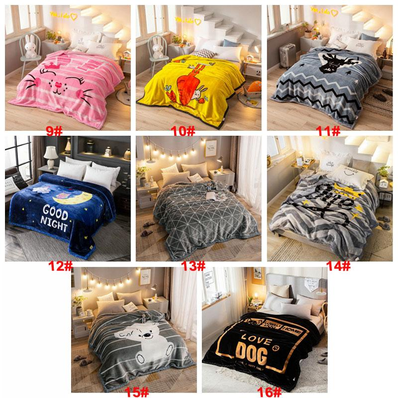 Soft Warm Blankets Quilts Covers Multi-function Comfortable Flannel Relax Blankets Raschel Fabric Double-sided Thickening Blanket RRF3140