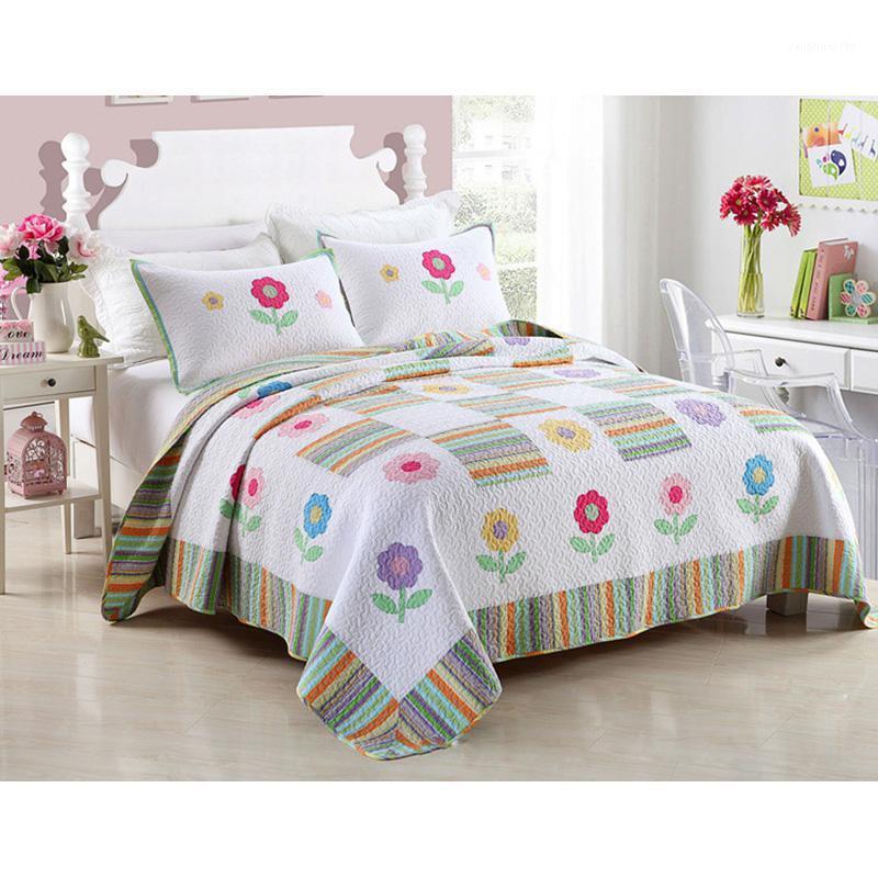 FAMVOTAR Fancy Cotton Quilt Set 3pcs Patchwork Saqueos de colchas Cubierta de la cama Cubierta acolchada Ropa de cama Hoja de cama Almohada Shams Funda Set1