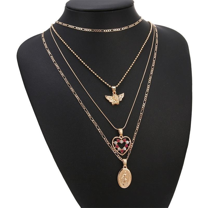 En ange amour portrait portrait pendentif multis couches collier mode pendentif femme amant cadeau cadeau or chaîne bijoux charm