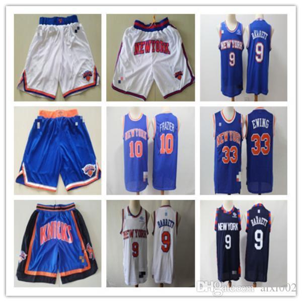 MasculinoNovoIorqueKnicks.33 Patrick.Ewing 10 Walt.Frazier 9 R.J.Barrett Basquete Shorts Basketball Camisas