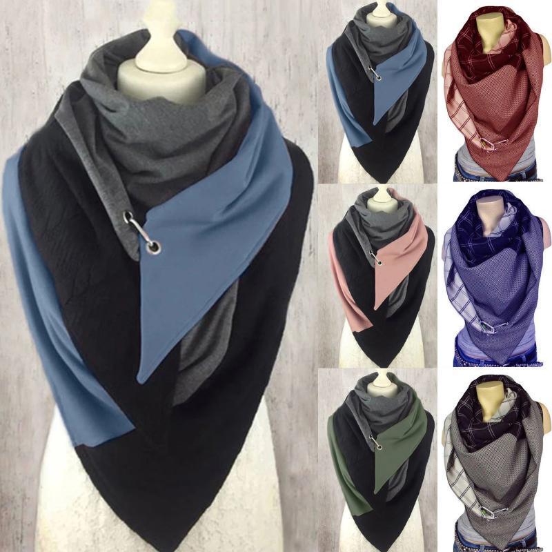40 # Женщины печатающие шарф повседневные печатные шарф моды ретро многоцелевой шаль-кнопка женщины с твердыми звездами шали