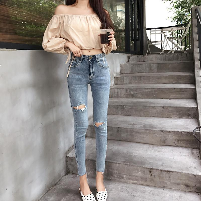 Korea Women's Clothing Spring Summer Sexy Skinny Pencil Pants High Waist New Chic Hipster Hole Jeans Women Fashion Vintage