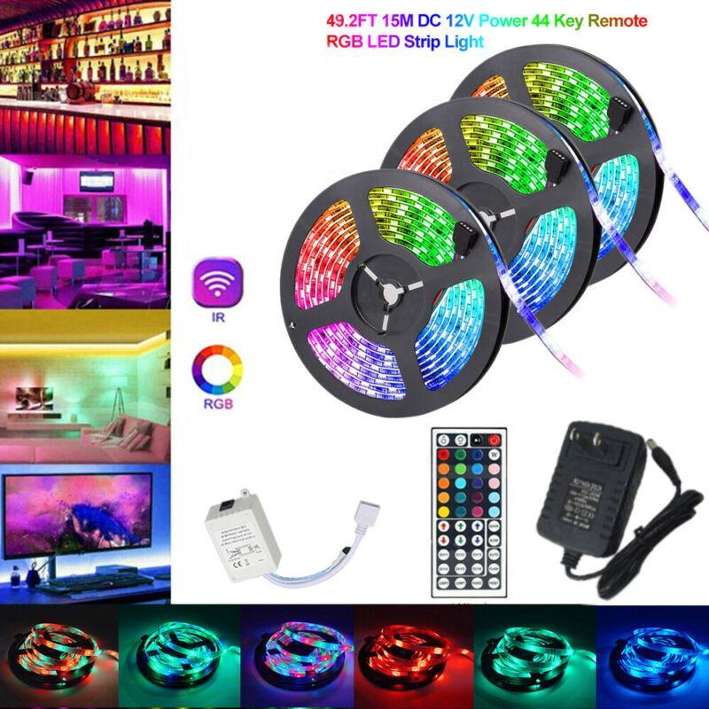 Impermeável 49FT 32FT Flexível 3528 RGB LED SMD Strip Light Luzes Fadas de Fada 44Keyboard Controller para TV de quarto Bar