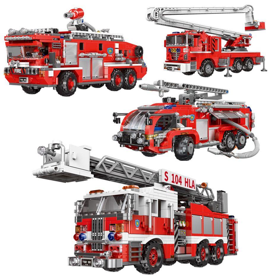 Xingbao 03028/03029/03030/03031 City Fire Lutando Caminhão Série 4 Estilos Fogo Building Blocks Ladder Truck Thicks presentes X0102