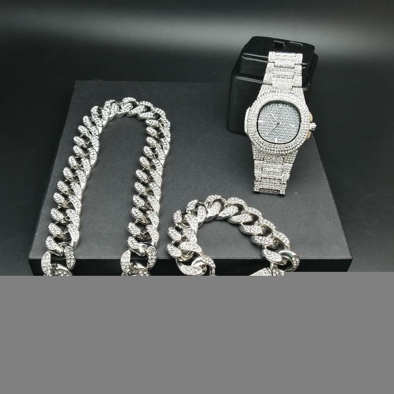 2 cm Hip Hop Altın Renk Buzlu Out Kristal Miami Küba Zinciri Altın Gümüş Erkekler İzle Kolye Bilezik Seti Hip Hop King Yeni