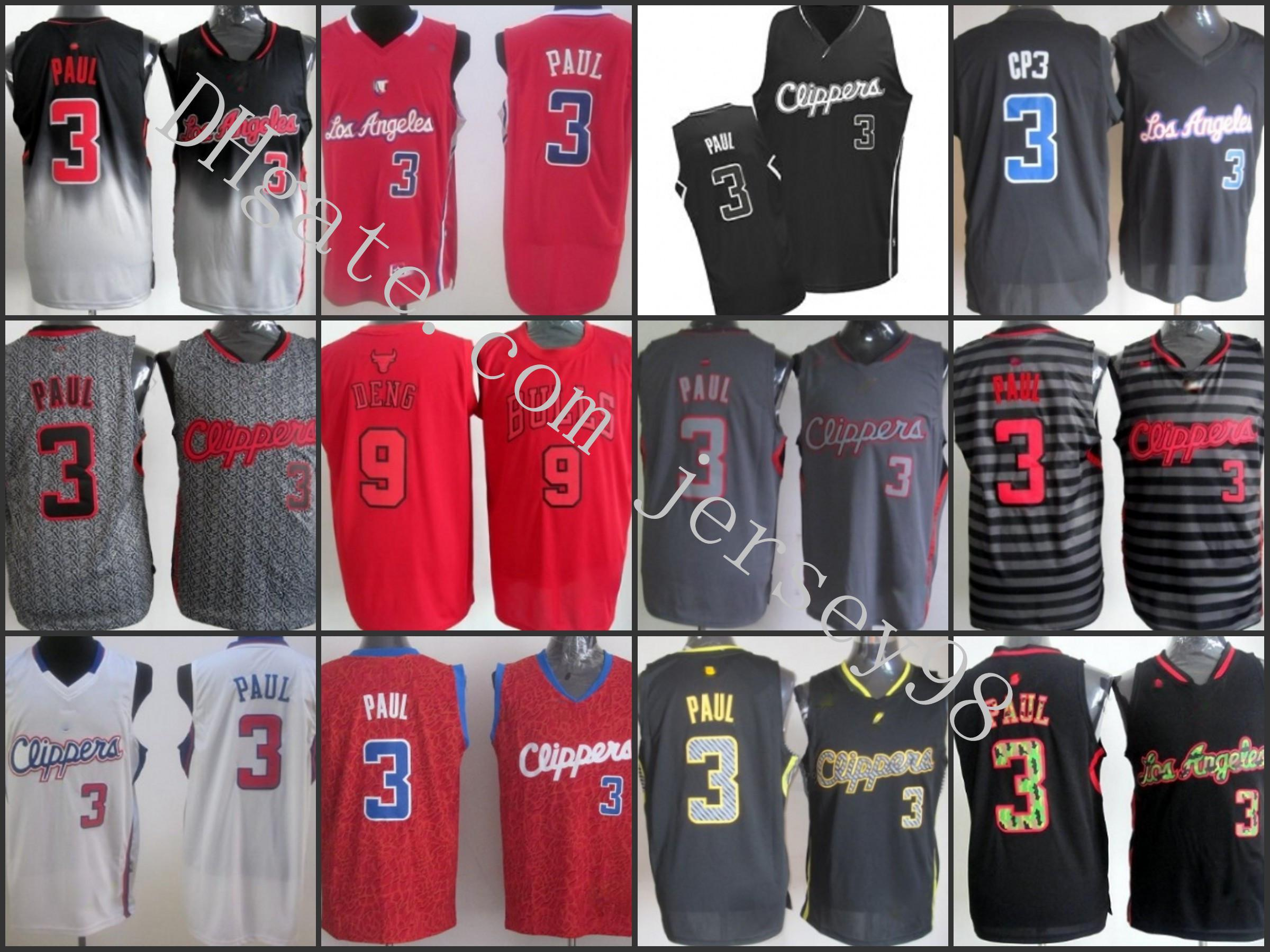 Los.Angeles.Clippers.Uomini # 9.Luol Deng # 3Chris Paul Black / GreyNBA Fadeaway Fashion Jersey