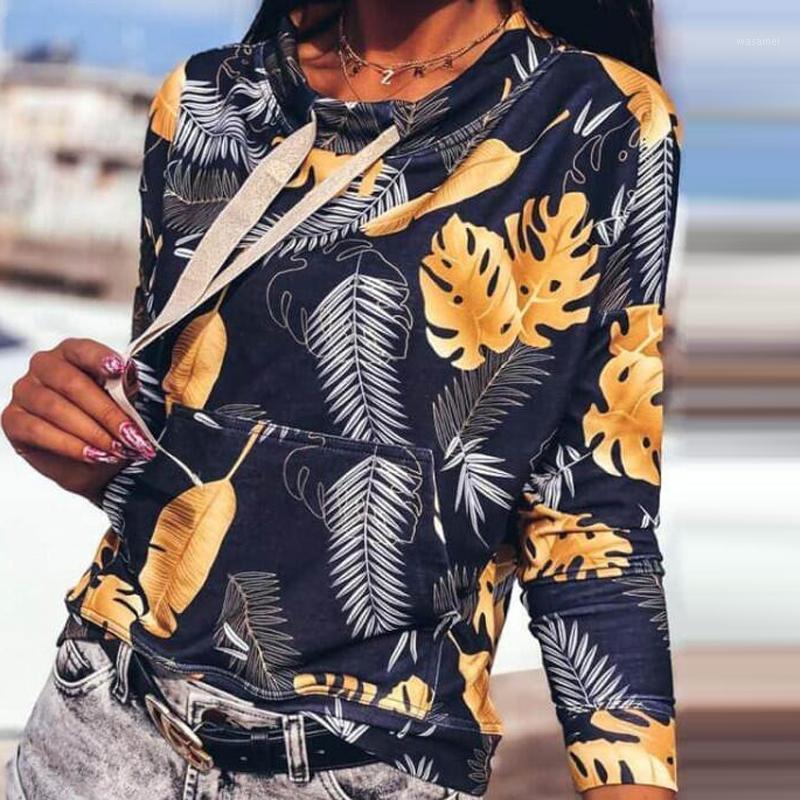 Automne rétro feuilles imprimé cordon à capuche sweat-shirt 2020 Femmes élégant Col O-cou pulls hauts dames casual manches longues à manches longues1