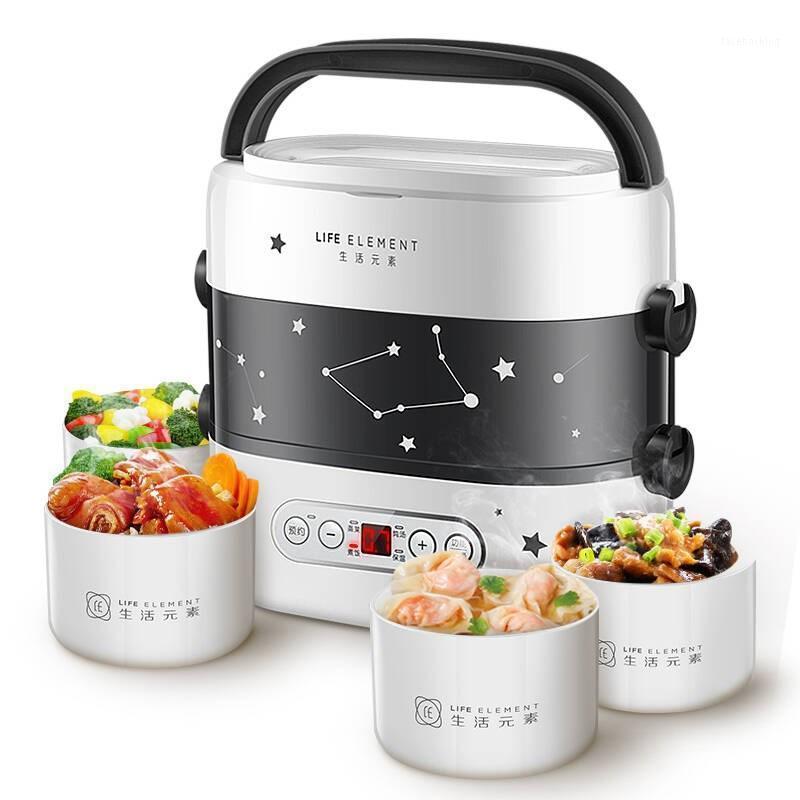 طباخات الأرز الذكية الغداء مربع طنجرة صغيرة طباخ مزدوج طبقة التلقائي التدفئة السيراميك بطانة اللمس lcd موعد توقيت 1