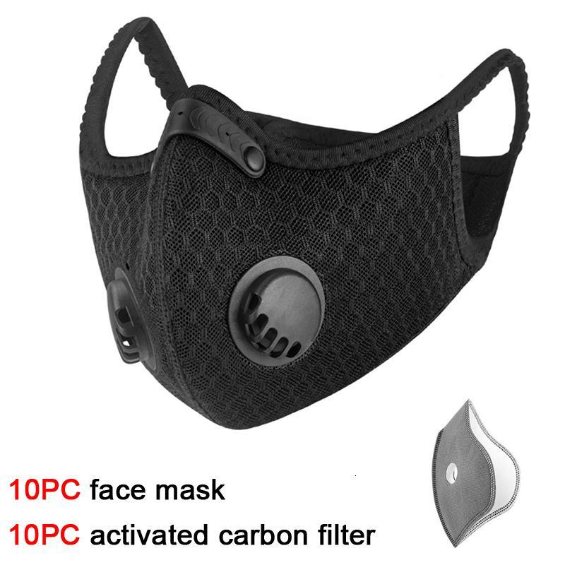 KF94 10pc PM2.5 Mascarilla de la contaminación de la cara Mascarilla de polvo Anti activada El inserto se puede lavar máscaras de la boca reutilizables 2B4F2