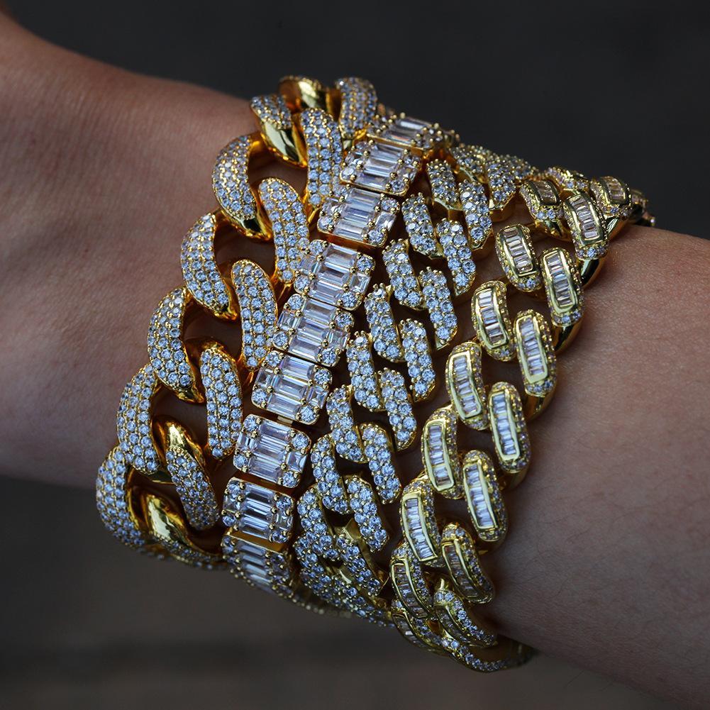 Ladder Zirconia Iced Out Bracelets Hip Hop Cuban Link Chain Luxury Diamond Mens Bracelets Charm Gold Silver Rapper Bangles