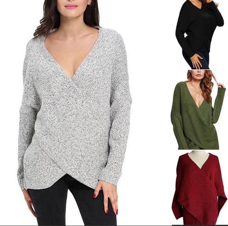 Camiseta en V Cruz de manga larga Suéter casual para mujeres
