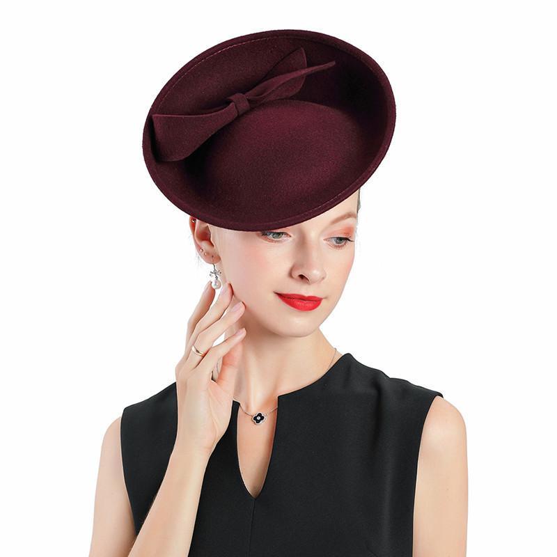 Fascinator Hut Royal Red Hochzeiten Wolle mit Bogen Crimping Hüte Frauen Fedoras Party Party Prom Hat