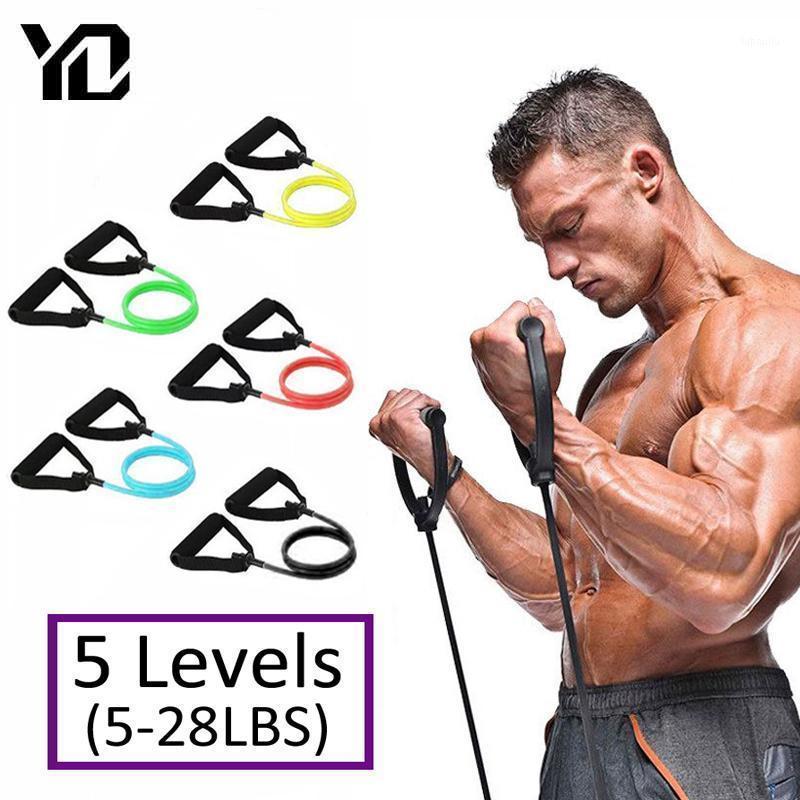 120 cm Resistencia a la aptitud Bandas Equipo de gimnasio Bandas Elásticas para Yoga Pull Rope Fitness Entrenamiento Home Excerciser Training 5 Niveles1