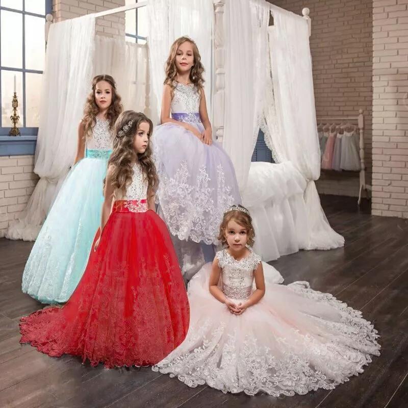 فتاة الأطفال الزفاف عيد اللباس الأبيض الأول بالتواصل الطويل الدانتيل الأميرة حفلة موسيقية العروسة تال حزب اللباس لفتاة 10 12 سنة vestidos