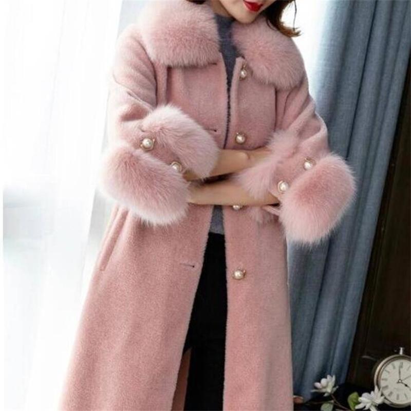 Elegante moda lana abrigo collar de piel desmontable cuello de lana mezcla de lana y chaqueta mujeres sólidas abrigos otoño invierno lj201110