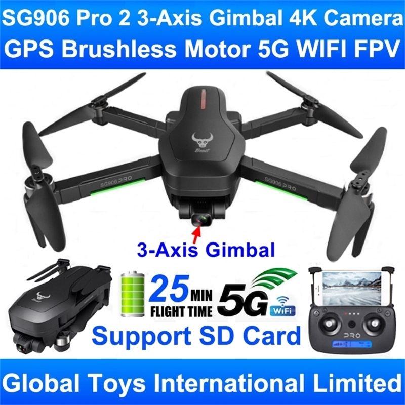 ZLRC-Biest SG906 PRO 2 bürstenlos Motor GPS 5G Wifi FPV 3-Achsen-Gimbal-Professional 4K-Kamera RC-Drohne Quadcopter-Unterstützung SD-Karte 201221