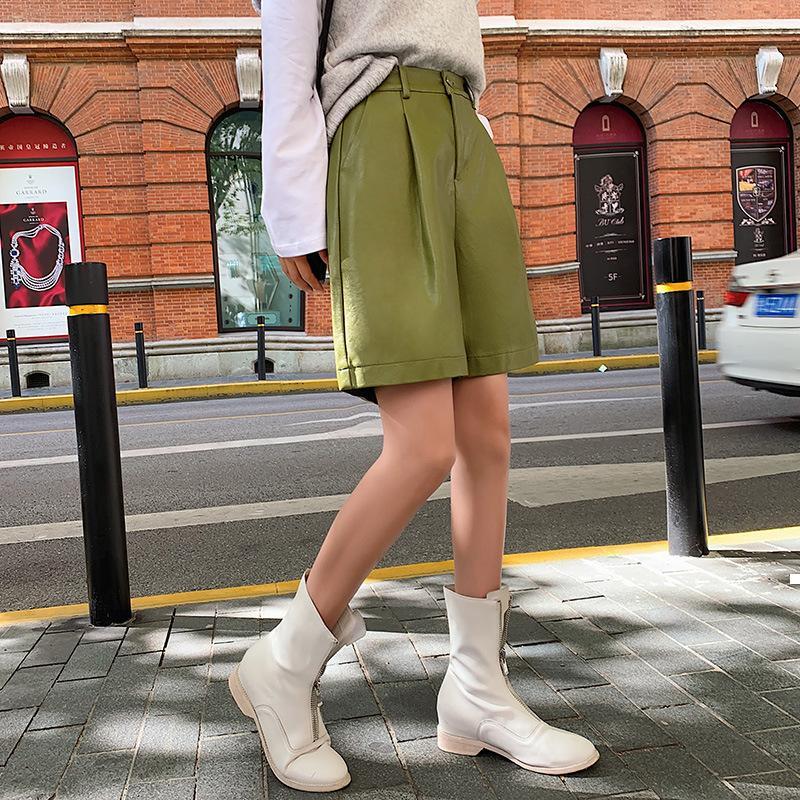 2021 Pantalones cortos nuevos nuevos del plutonio y pantalones de cuero de invierno de otoño e invierno Moda de cintura alta 8CW9 SU0U