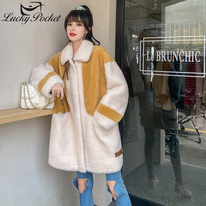 Faída de mujeres Faux Mujeres Otoño Invierno Moda Hit Color Abrigo Lam Abrigo Lana Femenino Flojo Casual Largo Cuero Ladies Abrigos elegantes ML770