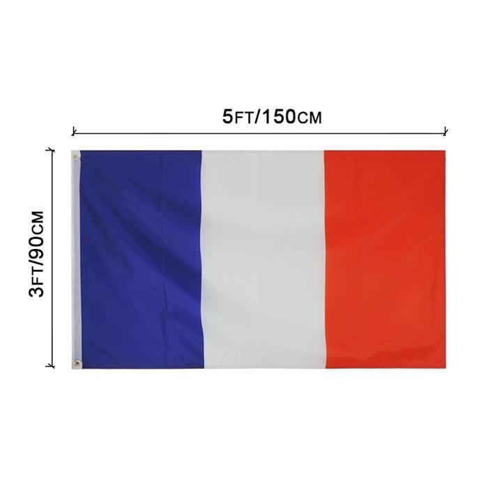 Frankreich Französische Flaggen Land Nationalflaggen 3'X5'FT 100D Polyester lebendige Farbe Hohe Qualität mit zwei Messing-Tüllen